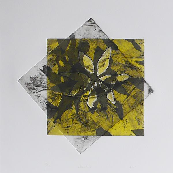 Clématite, eau-forte couleur, 39 x 57 cm