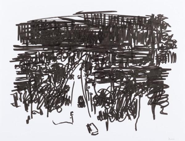 Nuit 1, marqueur noir sur papier blanc, 32,5 cm x 25 cm