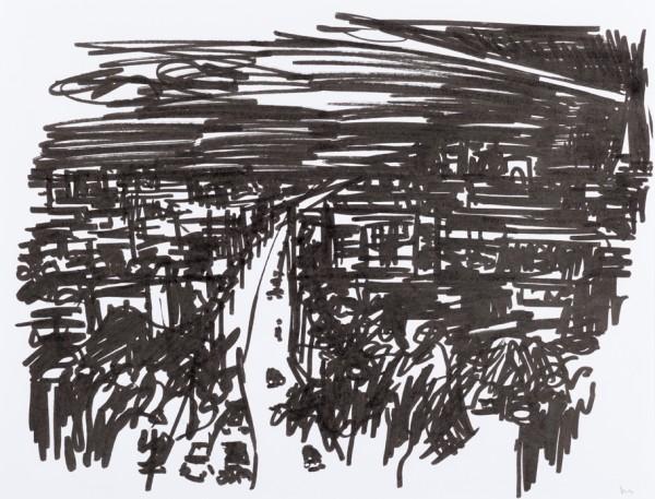 Nuit 2, marqueur noir sur papier blanc, 32,5 cm x 25 cm