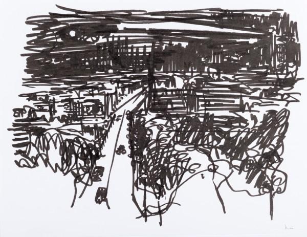 Nuit 3, marqueur noir sur papier blanc, 32,5 cm x 25 cm