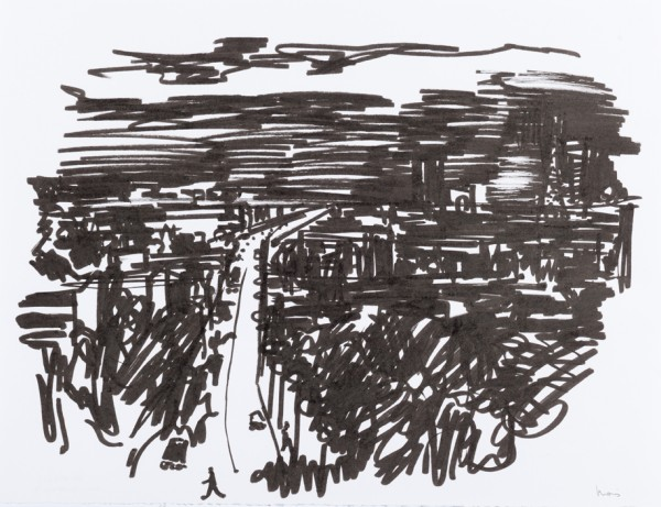 Nuit 4, marqueur noir sur papier blanc, 32,5 cm x 25 cm