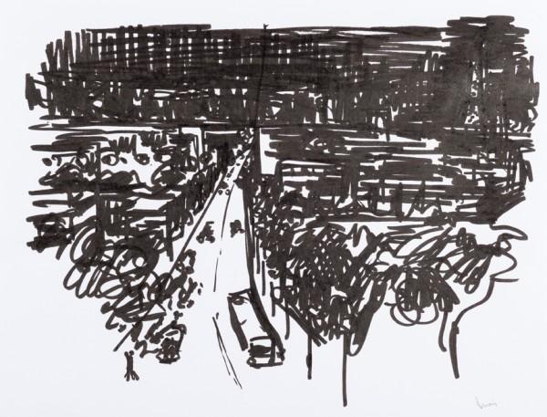 Nuit 5, marqueur noir sur papier blanc, 32,5 cm x 25 cm