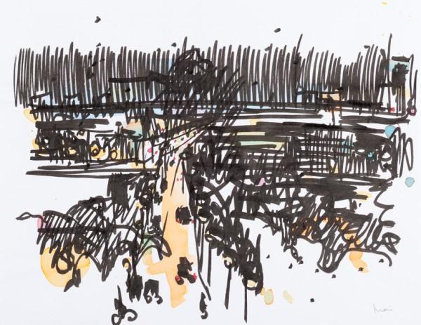 Nuit 6, marqueur noir et encres couleurs sur papier blanc, 32,5 cm x 25 cm