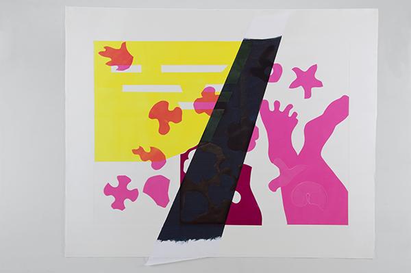 Joies, plaques magnétiques, gaufrage couleur et collage de papier teinté, 124 x 110 cm
