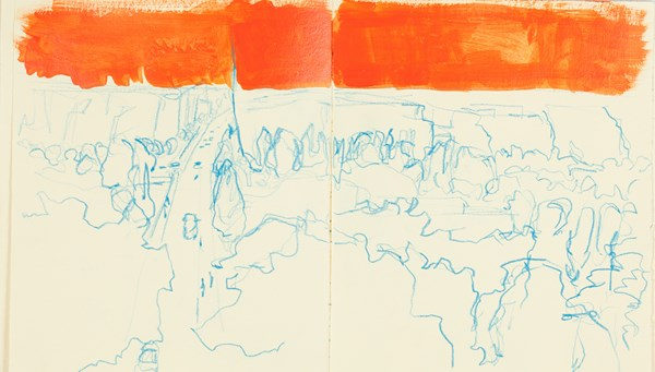 Levallois bleu orange, crayons de couleurs et gouache sur papier indien, 34 x 20 cm