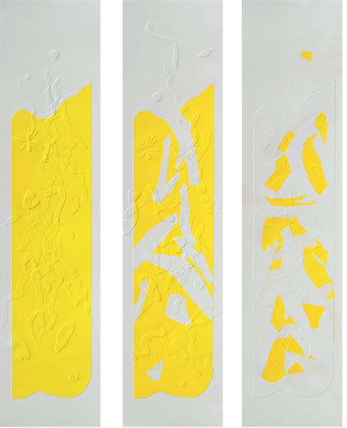 Jaunes 8 9 10, gaufrages et collages couleurs, 26 x 107 cm