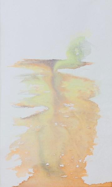 Grande rivière n°1, encres couleurs sur textile, 54 x 90cm