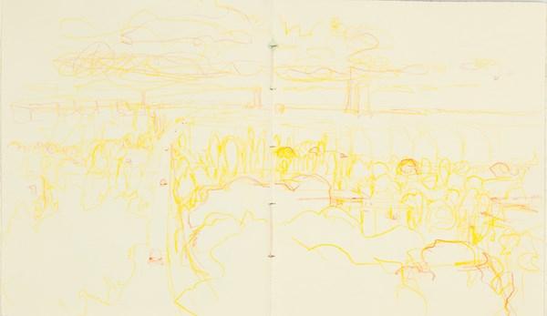 Levallois jaune, crayons de couleurs sur papier indien, 34 x 20 cm