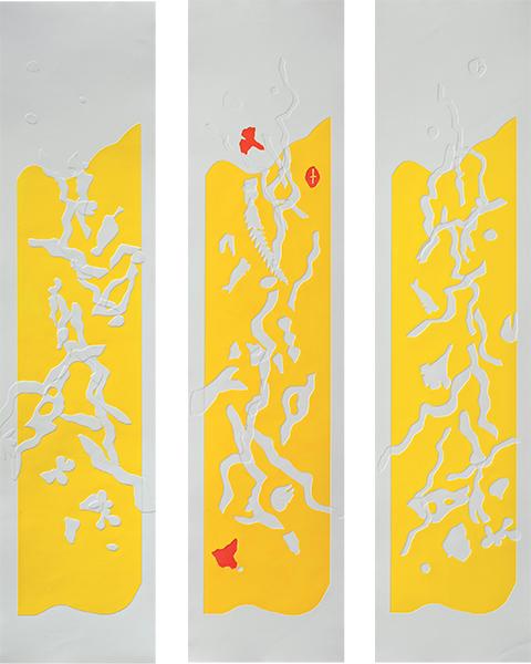 Jaunes 2 3 4, gaufrages couleurs, 26 x 107 cm