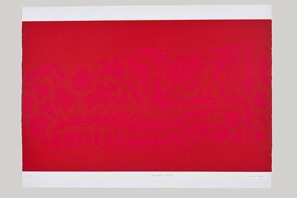 Rouge Barcelone, gaufrage couleur, 106 x78 cm