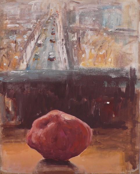 Objet-paysage, pigments sur gaze marouflée sur bois, 40 x 50 cm