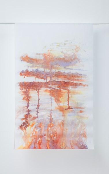 Ré, encre couleur et acrylique, 90 x 160 cm
