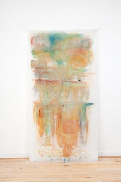 Pluie, encres couleurs sur textile suspendu, 90 x 180 cm