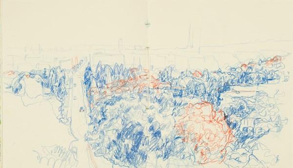 Levallois rouge bleu, crayons de couleurs sur papier indien, 34 x 20 cm