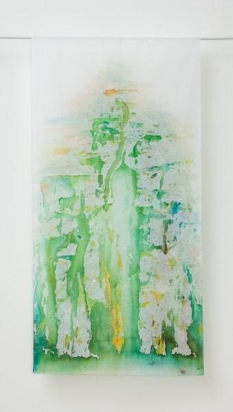 Sans titre (verso), encres couleurs sur textile, 90 x 160 cm