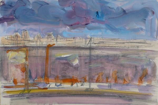 Travaux (étude), pigments gouache et mine de plomb sur carton, 33 x 24 cm