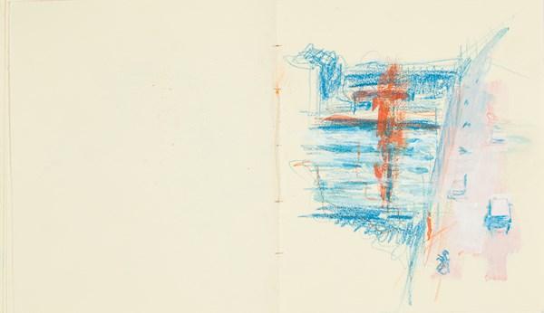 Traverse3, crayons de couleurs et gouache sur papier indien, 34 x 20 cm