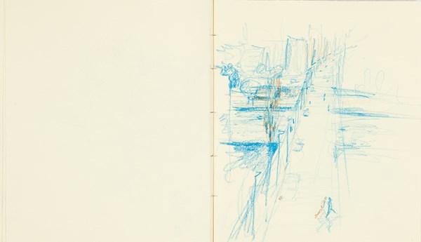Traverse2, crayons de couleurs sur papier indien, 34 x 20 cm