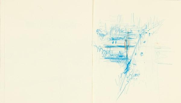 Traverse1, crayons de couleurs sur papier indien, 34 x 20 cm