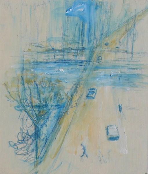 Traversée 2, crayon bleu et pigments sur carton, 17 x 20 cm