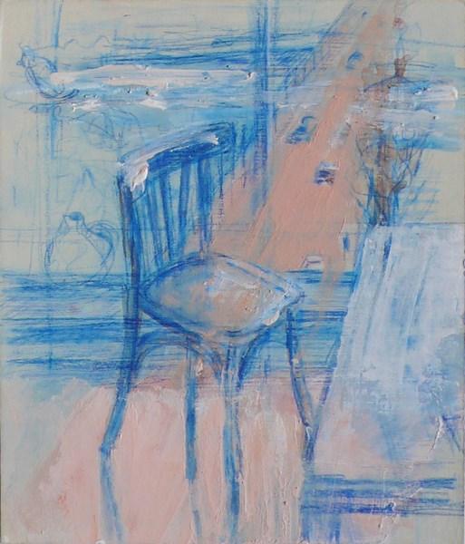 Traversée 3, crayon bleu et pigments sur carton, 17 x 20 cm
