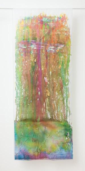 Trop (recto), encres gouaches et fleurs séchées, 90 x 180 cm
