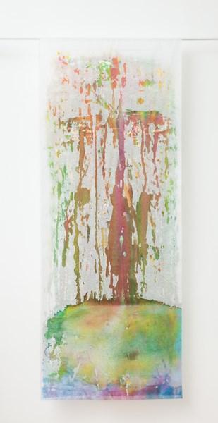 Trop (verso), encres gouaches et fleurs séchées, 90 x 180 cm