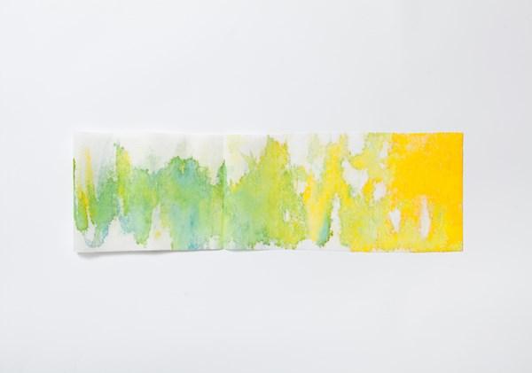 Source verte, encres couleur sur textile collé-plié, 15 x 30cm