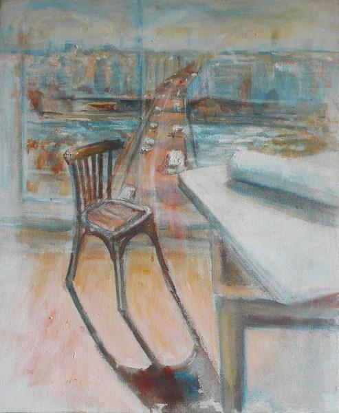 Levallois - rose, pigments on canvas, 50 x65 cm