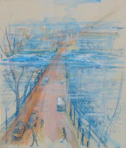 Crossing 1, blue pencil and pigments on card board, 17 x 20 cm