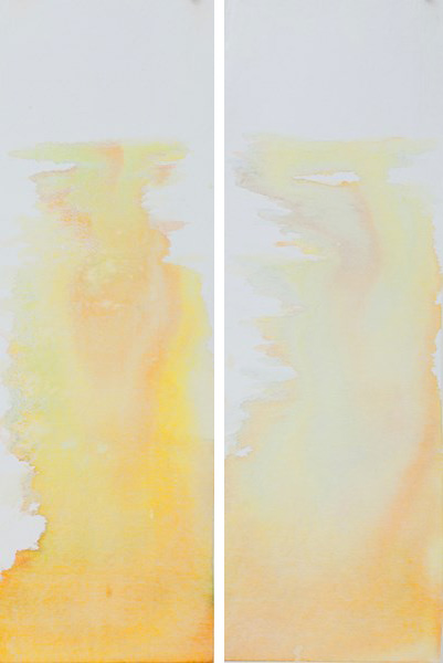 Yellows 1 and 2, ink on textile, two pieces 29,5 x 90 cm each