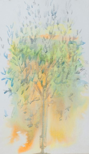 Olive tree - river, inks colors on textile, 54 x 90 cm