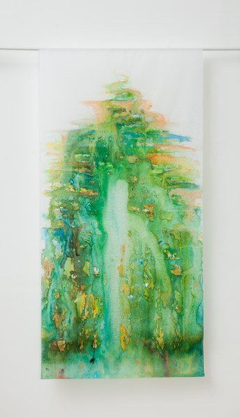 No title ( front), inks colors on textile, 90 x 160 cm