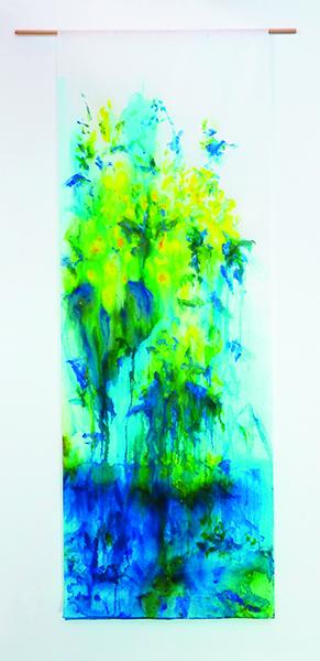 Azalée jaune, encres et acryliques sur textile suspendu, 90 x 250 cm