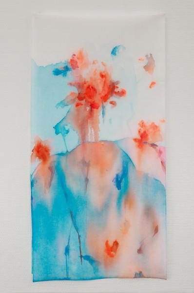 Rouge, encres et acryliques sur textile double suspendu, 45 x 90 cm