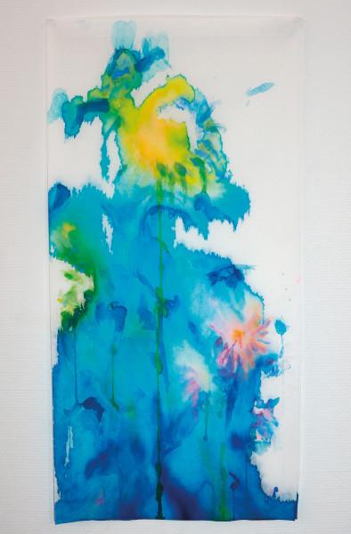 Tournesols 3, encres et acryliques sur textile double suspendu, 45 x 90 cm
