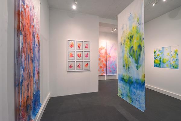 vue dans l'exposition, Jardin fluides, galerie Abstract Project, Paris février 2020